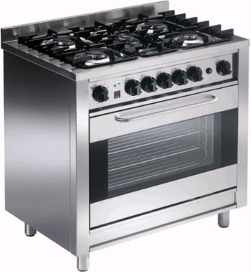 Cucina A Gas Con Forno Elettrico Ventilato Gn 1 1 Eka Kcv 96p 5 Fuochi Profondita 60cm Kcv 96 P
